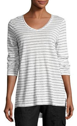 Eileen Fisher Long-Sleeve Thin-Striped Linen Tunic $148 thestylecure.com
