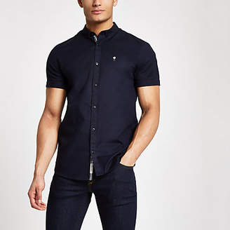 River Island Navy muscle fit rose embroidered Oxford shirt