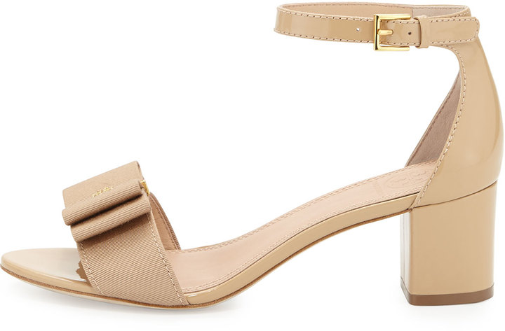 Tory Burch Trudy Patent Bow Sandal, Nude