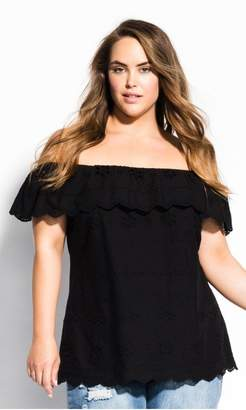 City Chic Citychic Wild Embroidery Top - black