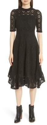 See by Chloe Handkerchief Hem Crochet Midi Dress