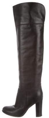 Sergio Rossi Leather Over-The-Knee Boots Brown Leather Over-The-Knee Boots