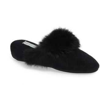 Patricia Green Josephine Genuine Rabbit Fur Trim Slipper