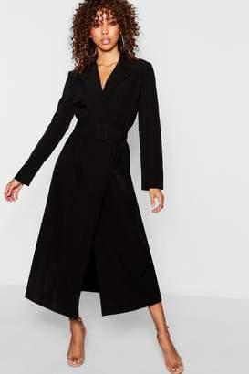 boohoo Covered Belt Maxi Blazer Dress