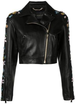 Versace floral embroidery cropped jacket