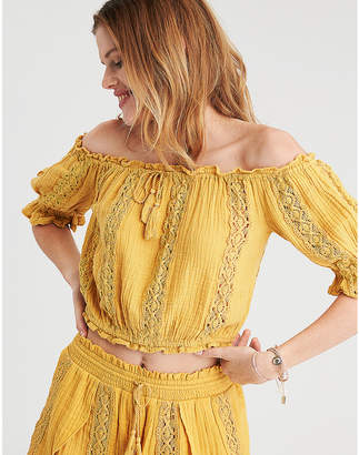 American Eagle AE Off-The-Shoulder Tie Up Top