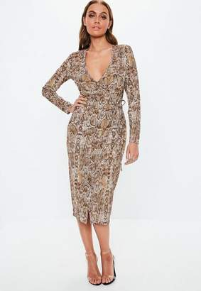 Missguided Brown Snake Print Wrap Midi Dress, Multi