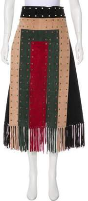 Valentino Leather Patchwork Skirt Green Leather Patchwork Skirt