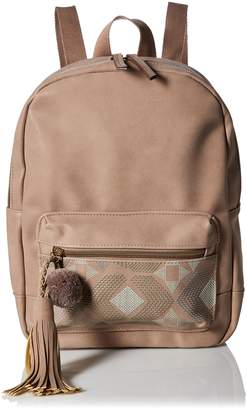 T-Shirt & Jeans Dome Back Pack with Puff Print Pom Tassel