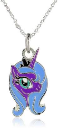 My Little Pony Fine Silver-Plated Princess Luna Purple Unicorn Face Pendant Necklace