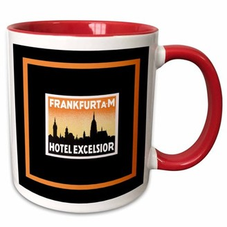 Excelsior 3dRose Frankfurt Hotel Vintage Luggage Label Reproduction - Two Tone Red Mug, 11-ounce