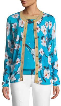 Escada Golden-Button Floral-Print Cardigan w/ Metallic Trim