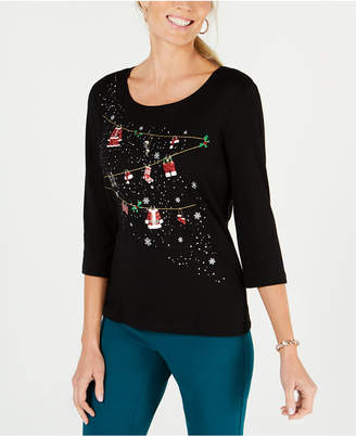 Karen Scott Petite Cotton Holiday Lights Sequin Top