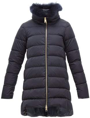 Herno Cashmere Trimmed Satin Shell Down Coat - Womens - Navy