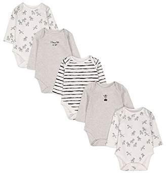 Mothercare Baby Unisex 5 Pack Long Sleeve Bodysuits Zebra(Size: 50)