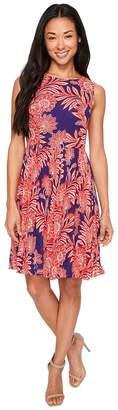 Adrianna Papell Petite Paisley Bandana Printed Chiffon Pleated Fit and Flare Dress Women's Dress