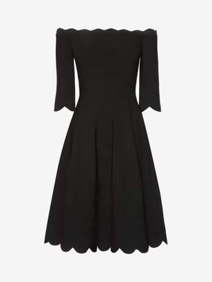 Alexander McQueen Off The Shoulder Mini Knit Dress