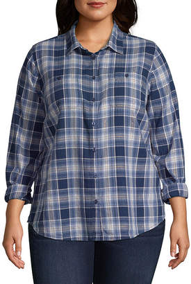 ST. JOHN'S BAY Brushed Twill Button Up Shirt - Plus