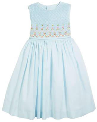 Luli & Me Smocked Sleeveless Bow-Back Dress, Size 2-4T