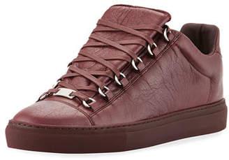 Balenciaga Men's Arena Leather Low-Top Sneakers