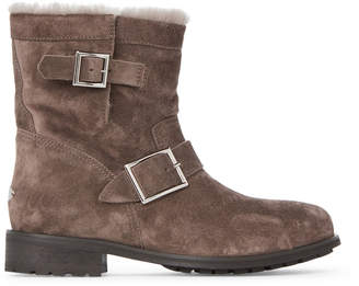Jimmy Choo Dark Grey Youth Shearling-Lined Suede Moto Boots