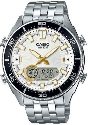 Casio Men's 'Ana-Digi' Quartz Metal and Stainless Steel Casual Watch, Color: Silver-Toned (Model: AMW720D-7AV)