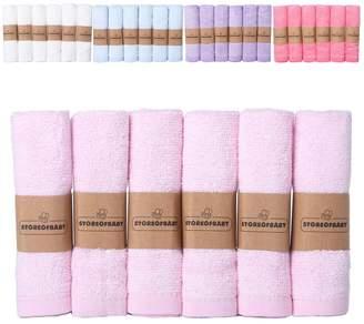 "Storeofbaby Newborn Baby Washcloths Hand Towels for Women Soft Wipes 100% Organic Bamboo Pack of 6 10""x10"""