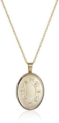 14k Gold-Filled with Floral Design and Center Signet Oval Hand Engraved Locket Necklace