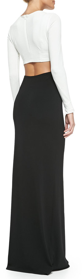 Rachel Zoe Vera Two-Tone Cutout Maxi Dress