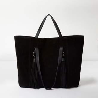 River Island Womens Black suede tassel underarm tote bag