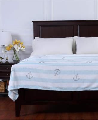 Berkshire Nautical Stripe Anchor-Print Velvety Plush Blanket