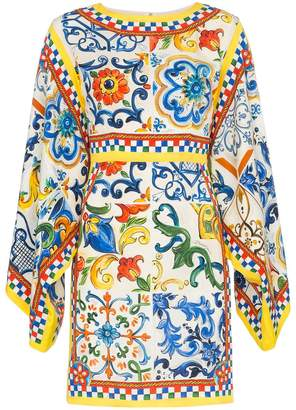 Dolce & Gabbana silk maiolica print dress