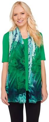 Susan Graver Liquid Knit V-Neck Top with Printed Sheer Chiffon Vest