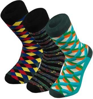 Otto Socks Men's Colorful Patterned Dress Socks 3 Pack, Black,Size 9.5-11