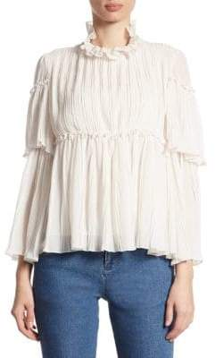 Pleated Bell-Sleeve Blouse