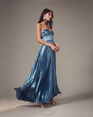 Intermix Amur Sapphire Blue Pleated Strapless Gown