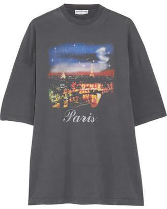 Balenciaga - Printed Washed Cotton-jersey T-shirt - Gray