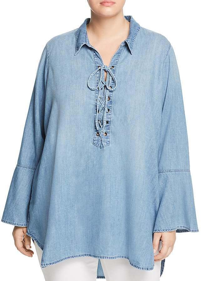 Seven7 Jeans Plus Lace-Up Chambray Tunic