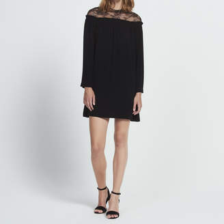 Sandro Loose-fitting dress with lace insert