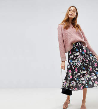 Asos Tall TALL Pleated Midi Skirt with Belt in Print