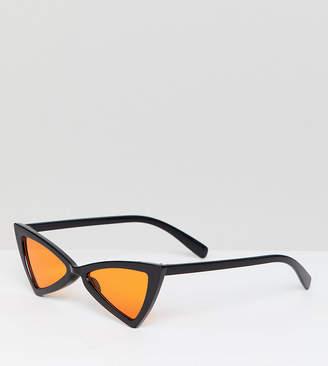 Glamorous slim black cat eye sunglasses with orange lens