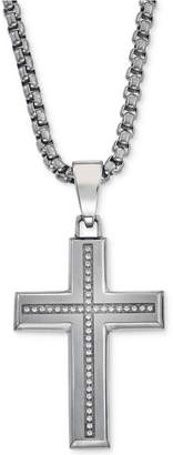 Macy's Esquire Men's Jewelry Diamond Cross Pendant Necklace (1/6 ct. t.w.) in Stainless Steel, Created for