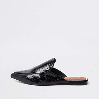 River Island Black croc pointed toe backless loafers