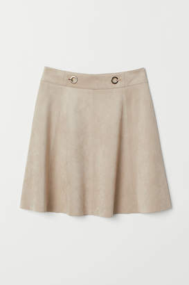 H&M Short Faux Suede Skirt - Brown