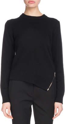 Proenza Schouler Crewneck Long-Sleeve Asymmetric Zip-Hem Wool-Blend Sweater
