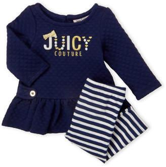 Juicy Couture Newborn Girls) Two-Piece Popcorn Knit Peplum Top & Stripe Leggings Set