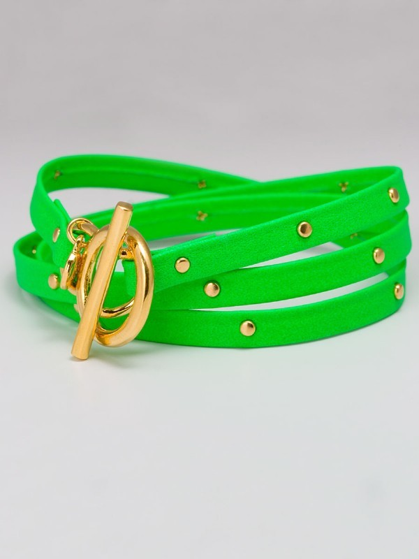 Gorjana Graham Leather Wrap Bracelet in Neon Green