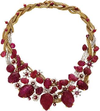 Vintage Marchak Ruby And Diamond Bib Necklace