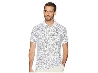 Lacoste Sport Novak Djokovic Short Sleeve Ultra Dry Polo W/ All Over Net Print Ergnomic Back