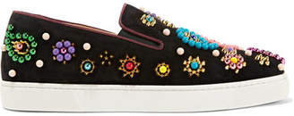 Christian Louboutin - Boat Candy 20 Embellished Suede Slip-on Sneakers - Black $1,345 thestylecure.com